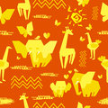 Africa seamless pattern with elephants giraffes ostriches butterflies sun hearts and african motifs Stock Photography