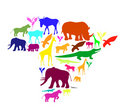 Africa silhouette with animals. Royalty Free Stock Image