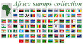 Africa stamps collection alphabetic complete against white background abstract art illustration Stock Images