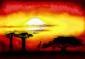 Africa sunset drawing of the mixed media digitally altered Royalty Free Stock Images