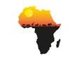 Africa sunset minimal vector illustration