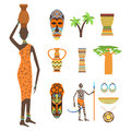 Africa symbols and travel vector set. Royalty Free Stock Photo