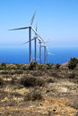 Africa wind turbines the isle of lanzarote spain and sky in Stock Photo