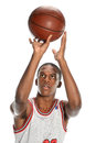 African american basketball player young shooting ball isolated over white background Royalty Free Stock Photo