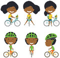 African American bicycle rider girls