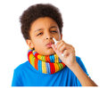 African american boy with nasal spray and colorful scarf concept of allergy and flu over white background isolated copy space Stock Photos
