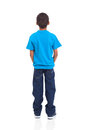 African american boy rear view of isolated on white background Royalty Free Stock Photos