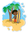 African-American boy and surfboard Royalty Free Stock Photos