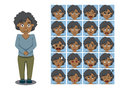 African american brother cartoon emotion faces vector illustration emoticons eps file format Royalty Free Stock Photography