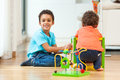 African american brothers child playing together cute Stock Photo
