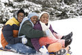 African American brothers and sister sliding on a sled. Royalty Free Stock Photo