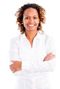 African american business woman smiling isolated over a white background Stock Image