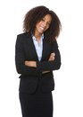 African american business woman smiling portrait of a young with arms crossed Stock Photography