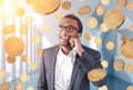 African American businessman, bitcoin rain Royalty Free Stock Photo