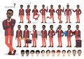 African american businessman cartoon character set. Vector illustration Royalty Free Stock Photo