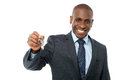 African American businessman holding a key Royalty Free Stock Photo