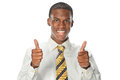 African american businessman showing thumbs up portrait of isolated over white background Stock Images