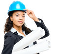 African American businesswoman architect holding blueprints isol Royalty Free Stock Photo