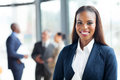 African american businesswoman close up portrait of happy Stock Image