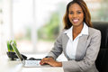 African american businesswoman happy young using computer in office Stock Photo