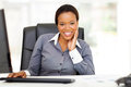 African american businesswoman office happy young relaxing in Royalty Free Stock Photo