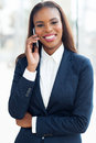 African american businesswoman phone portrait of young using cell Stock Photography