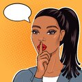 African american businesswoman in pop art retro cimic style with finger on lips for quiet please, stop talking, keeping business s Royalty Free Stock Photo