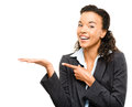 African american businesswoman showing empty copyspace isolated copy space Royalty Free Stock Photo