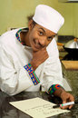 African American Chef Writing Shopping List Stock Photography