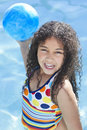 African American Child Playing In Swimming Pool Royalty Free Stock Photo