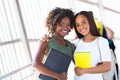 African american college friends pretty together on campus Stock Images