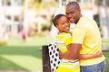 African american couple cheerful outside shopping mall Stock Image