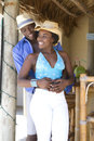 African American couple at tiki Bar