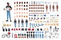 African American delivery boy constructor. Collection of male character body parts in different postures, uniform