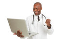 African american doctor with laptop excited portrait of holding in front of white background studio shot Stock Photography