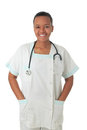 African American doctor nurse black stethoscope Stock Photography