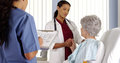African american doctor and nurse talking to elderly patient africanamerican Stock Photos