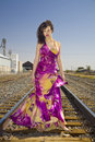 African American Fashion Model on Railroad Tracks Royalty Free Stock Photo