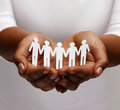 African american female hands with paper people Royalty Free Stock Photo