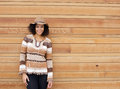 African american female smiling with autumn colors clothing Royalty Free Stock Photo