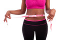 African American Fitness woman measuring her belly Royalty Free Stock Photography