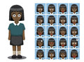 African American Girl Cartoon Emotion faces Vector Illustration Royalty Free Stock Photo