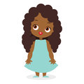 African American girl. Vector illustration eps 10 isolated on white background. Flat cartoon style.