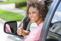 African American Girl Woman Thumbs Up Driving Car Royalty Free Stock Photo
