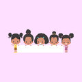 African-American Girls with Blank Banner Royalty Free Stock Photo