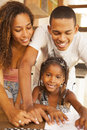 African american happy family studying Royalty Free Stock Photo