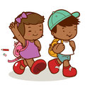 African american kids walk to school a happy girl and boy going Stock Photo