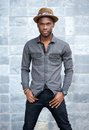 African american male fashion model with hat Royalty Free Stock Photo