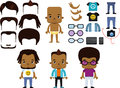 African American Male Hipster Avatar set Royalty Free Stock Photo