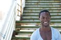 African american male model smiling outdoors closeup portrait of an Stock Photography